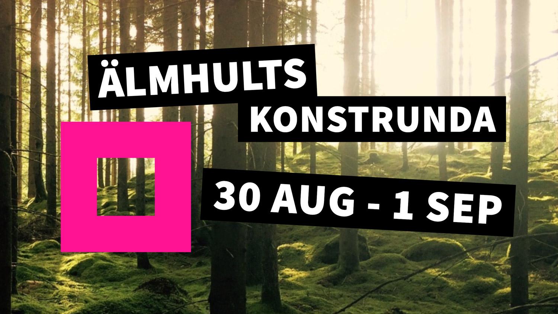 Älmhults konstrunda 2019 med rosa kvadrat och skog